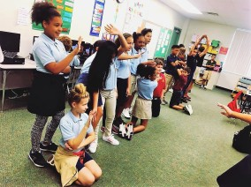 5th grade students at Tuttle Elementary use movement to simplify an algebraic equation. They embodied the mnemonic device GEMDAS in order to help them remember the order of operations.