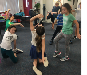 4th Grade students from Pine View Elementary use movement to show an ordered pair on a coordinate plane with an x and y axis.